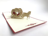 brown heart shape love carriage popup card