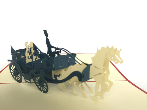 black horse carriage with a couple insde 3d popup love card