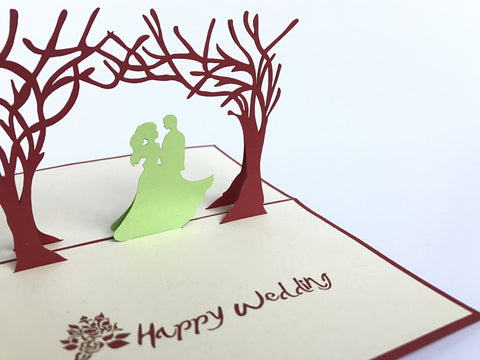 happy wedding couple under the red trees 3d popup love gift card