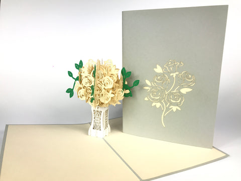 White Roses Bouquet Pop Up Card