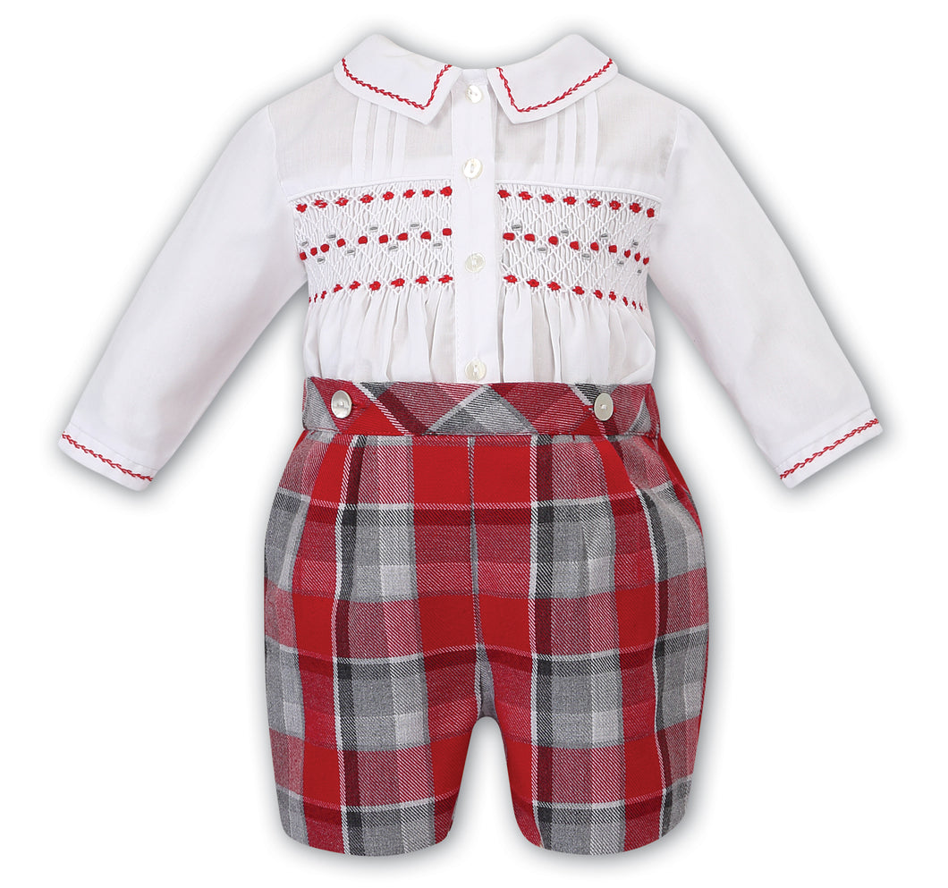 Baby Boys Red Tartan Shorts Set