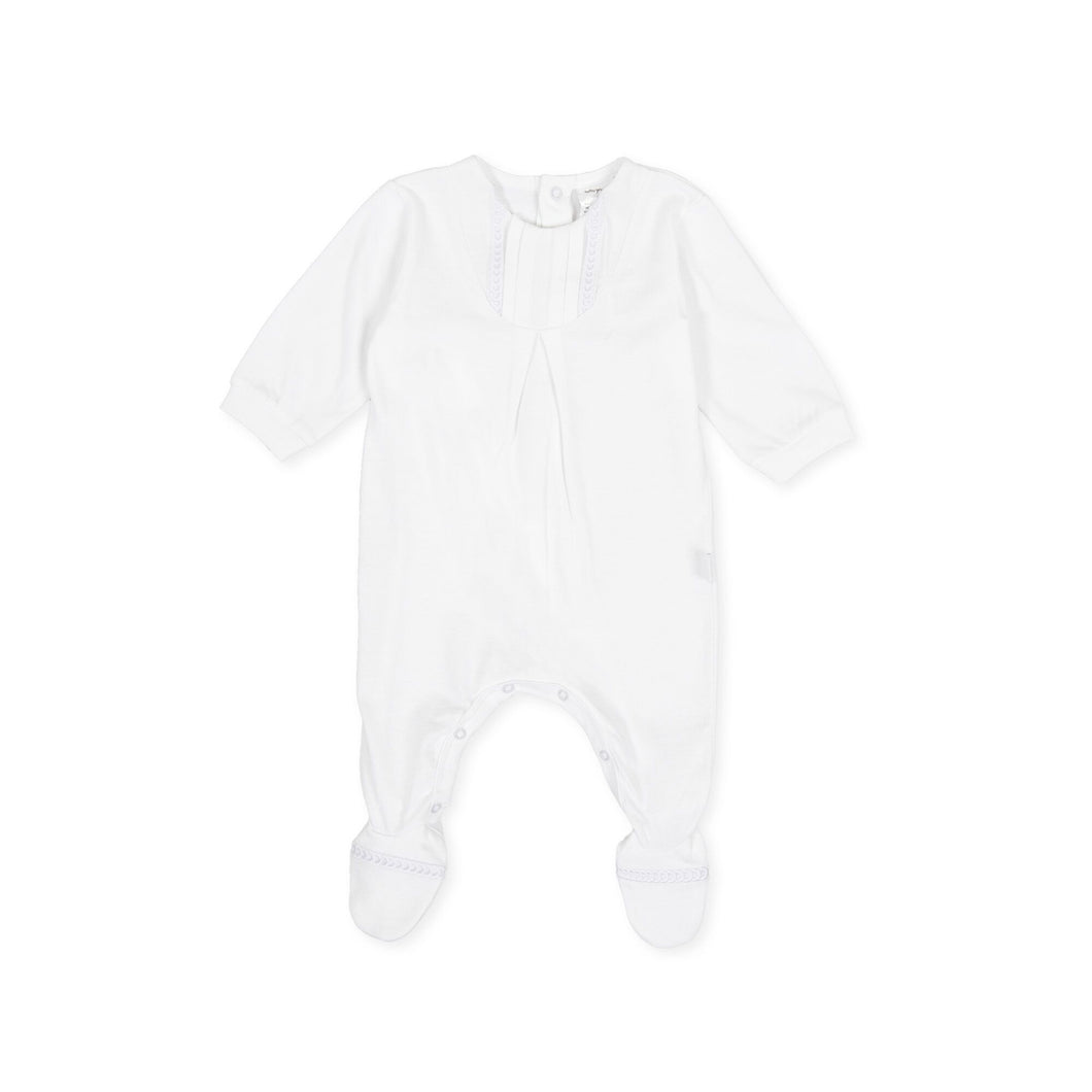 Newborn White Cotton Babygrow
