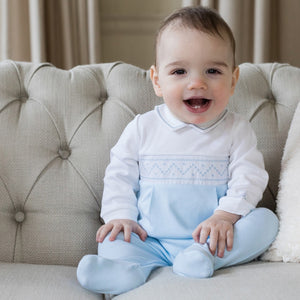 Blue Cotton Babygrow & Hat Set - Toby