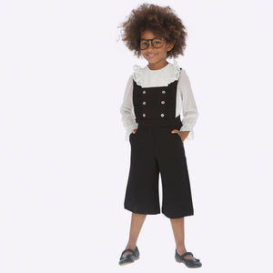 Girls Black Dungaree