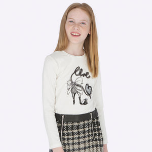 Girls Ivory Cotton Top