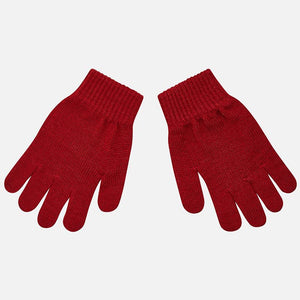 Boys Maroon Knitted Gloves