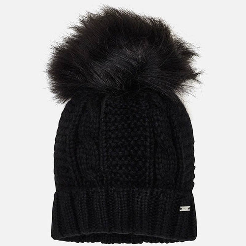 Girls Black Pompom Hat