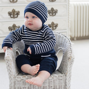 Navy Knitted Cotton Babygrow & Hat - Trevor