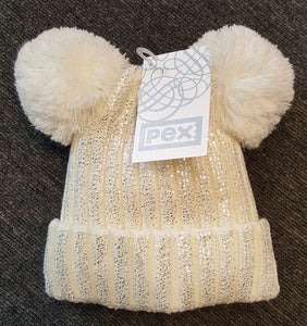 Girls Ivory Double Pom-Pom Hat