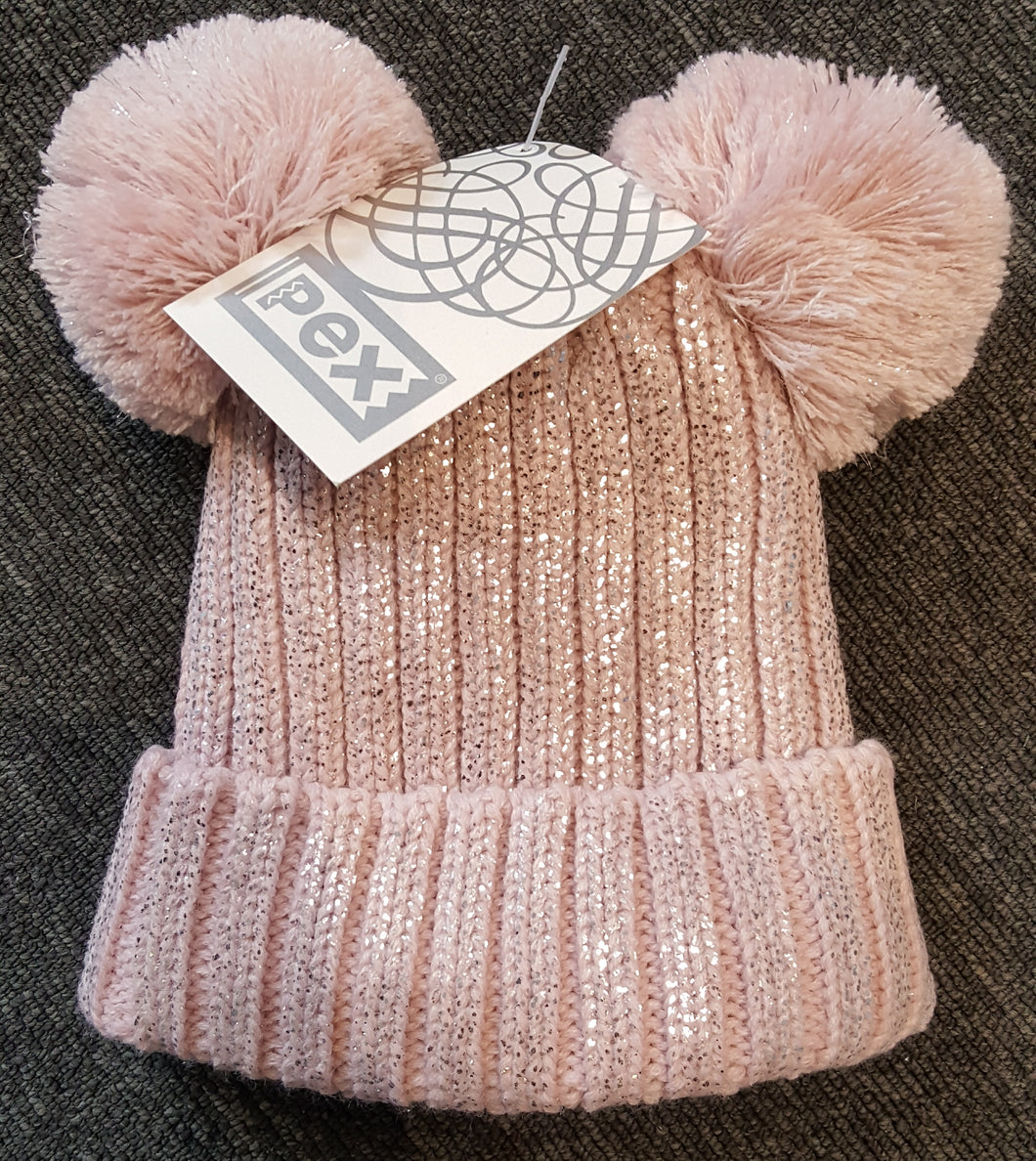 Girls Pink Double Pom-Pom Hat