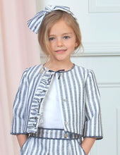 Girls Navy Striped Jacket