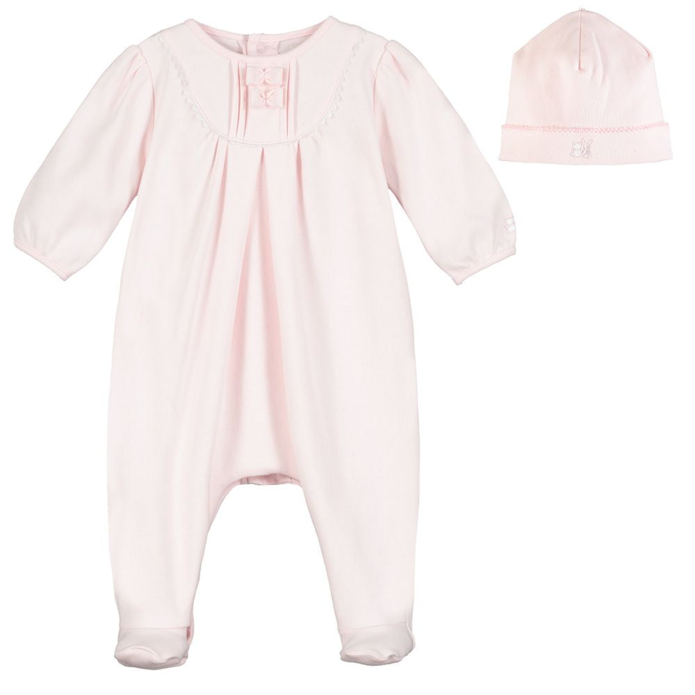 Pink Cotton Babygrow & Hat Set - Shantel