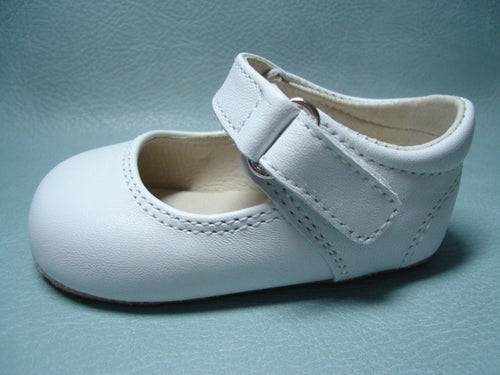 Baby Girls White Leather Pram Shoes