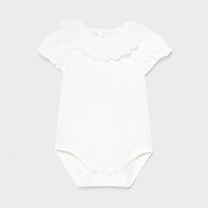 White Ruffle Neck Body Suit  - 1703