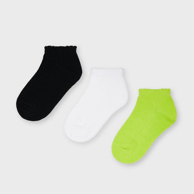 Girls 3 Pack Trainer Socks (Lime) - 10058