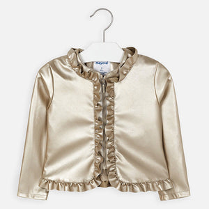 Girls Gold Faux Leather Jacket