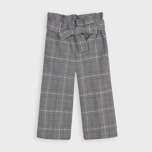 Grey Checked Cropped Trouser - 4553