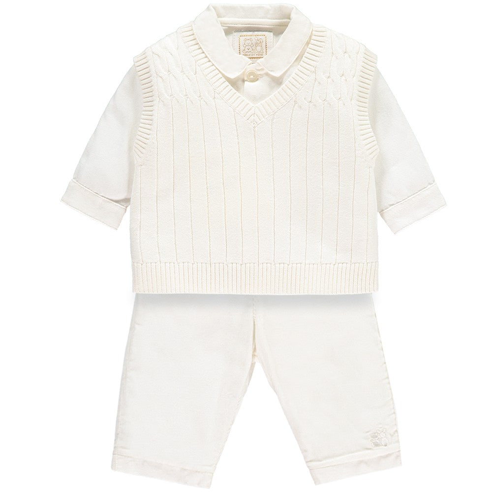 Guliver - Baby Boys Ivory 3 Piece Outfit
