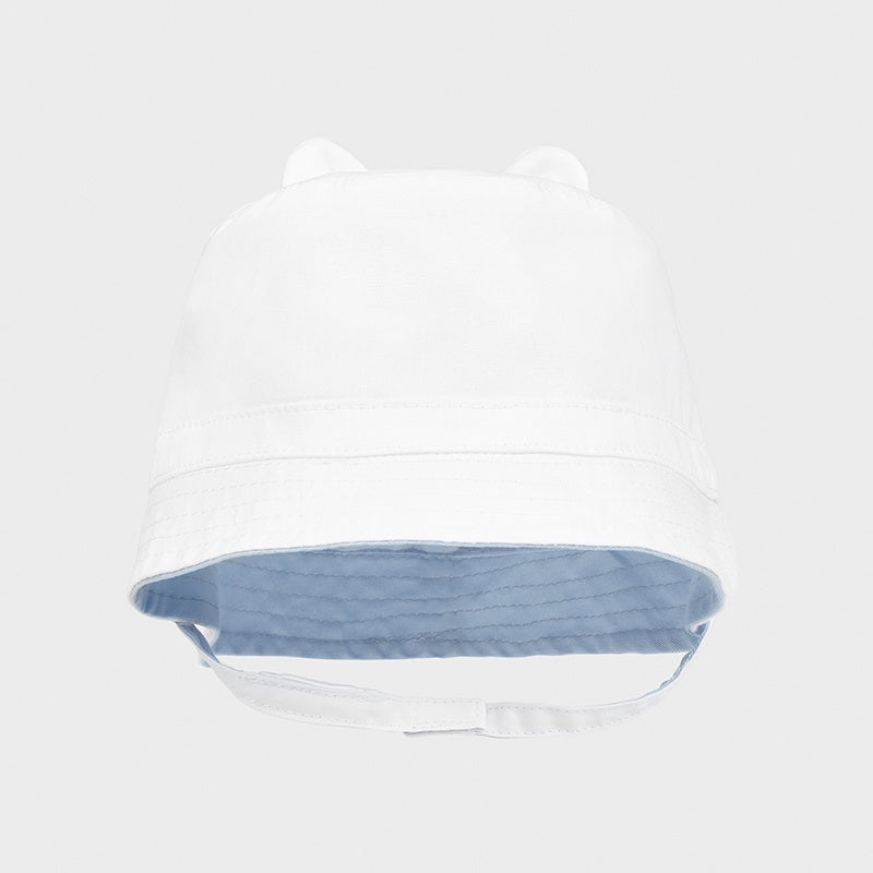 Baby Boys White/Blue  Reversible Hat - 9372