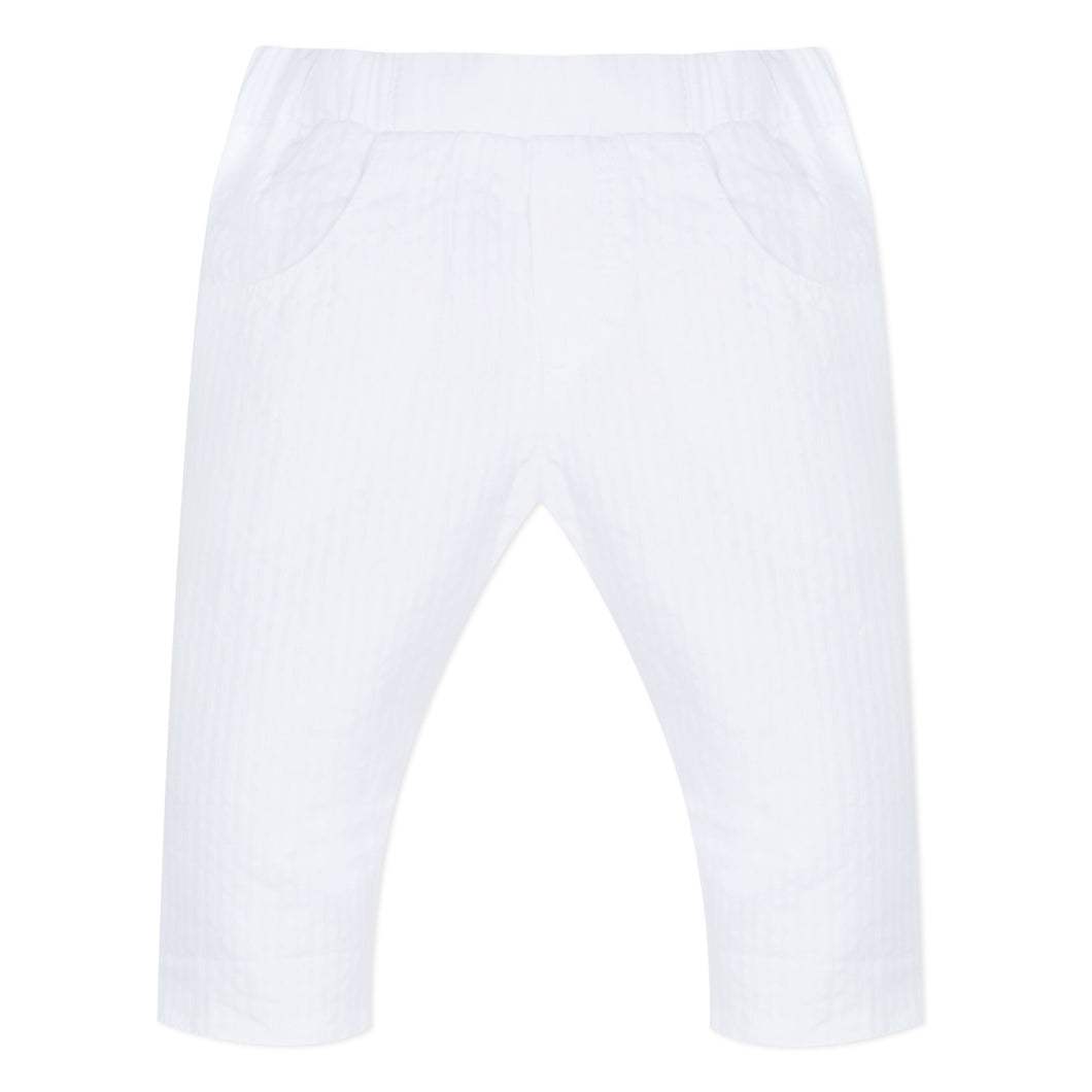 Baby Boys White Cotton Trousers