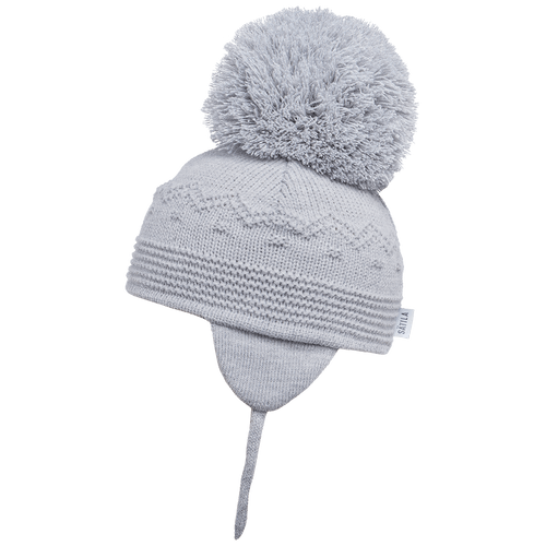 Belle - Light Grey Big Pom Hat