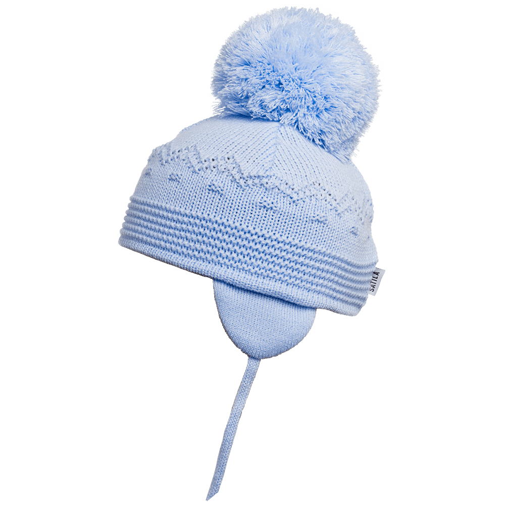 Belle - Light Blue Big Pom Hat