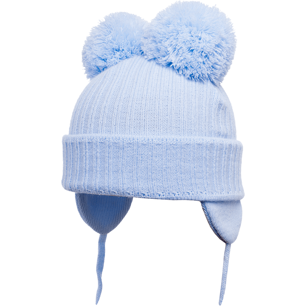 Minnie - Light Blue Double Pom-Pom Hat