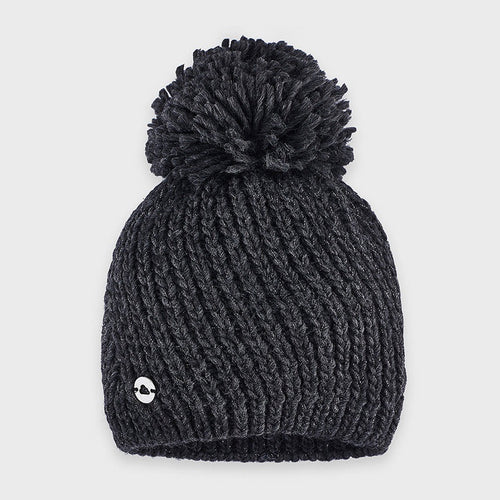Grey Knitted Pom-pom Hat - 10903