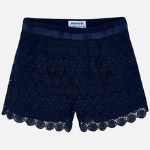 Girls Navy Lace Shorts