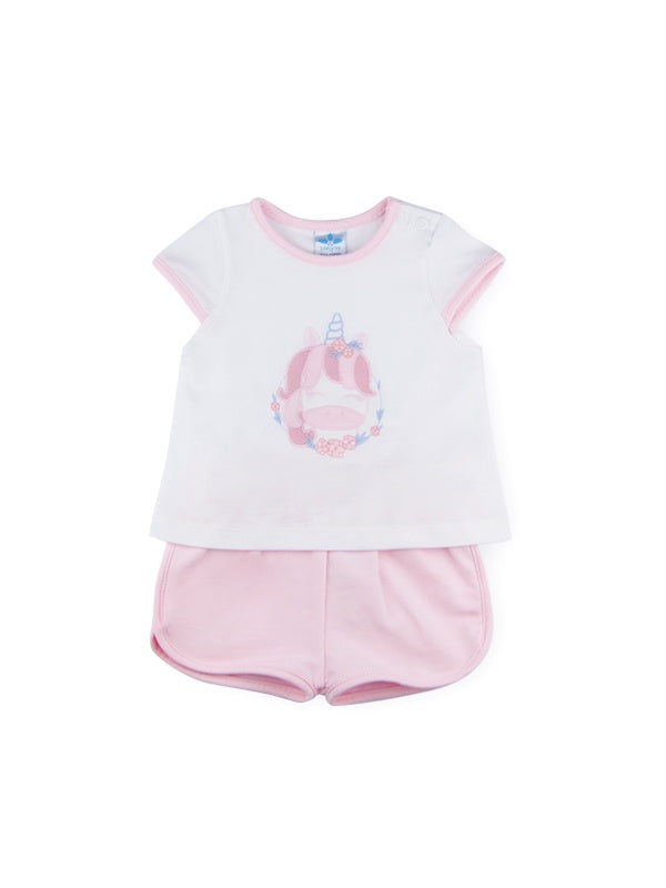 Pink Unicorn Shorts Set