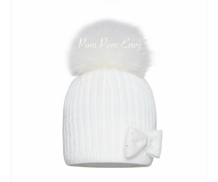 Twinkle Bow Hat - White