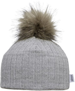 Nora - Light Grey Faux Fur Pom-Pom Hat