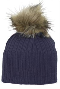 Nora - Navy Faux Fur Pom-Pom Hat