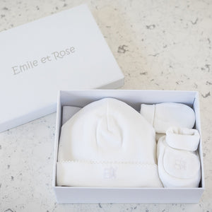 White Cotton 3 Piece Hat set