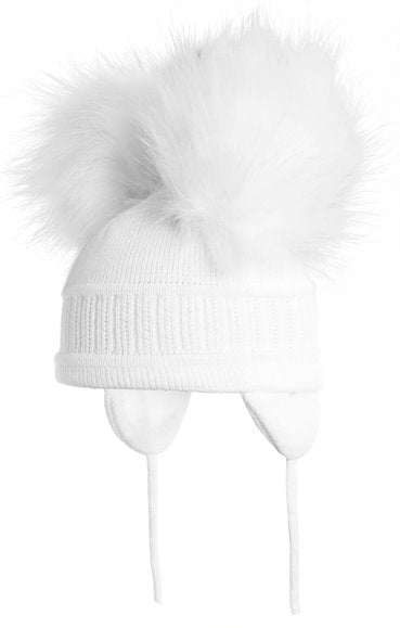 Tindra - White Double Faux Fur Pom-Pom Hat