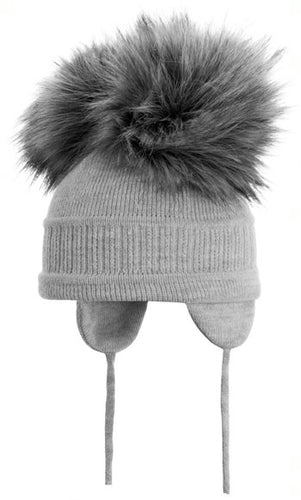 Tindra - Grey Double Faux Fur Pom-Pom Hat