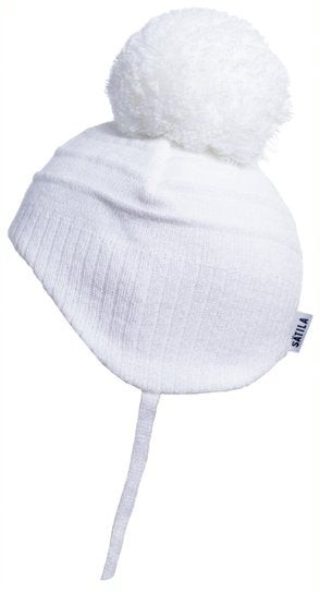 Tiny - Newborn White Pom-pom Hat