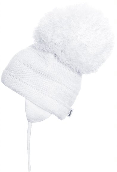 Tuva - White Big Pom-Pom Hat