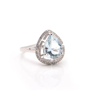 Pear Aquamarine and Diamond Halo Dress Ring