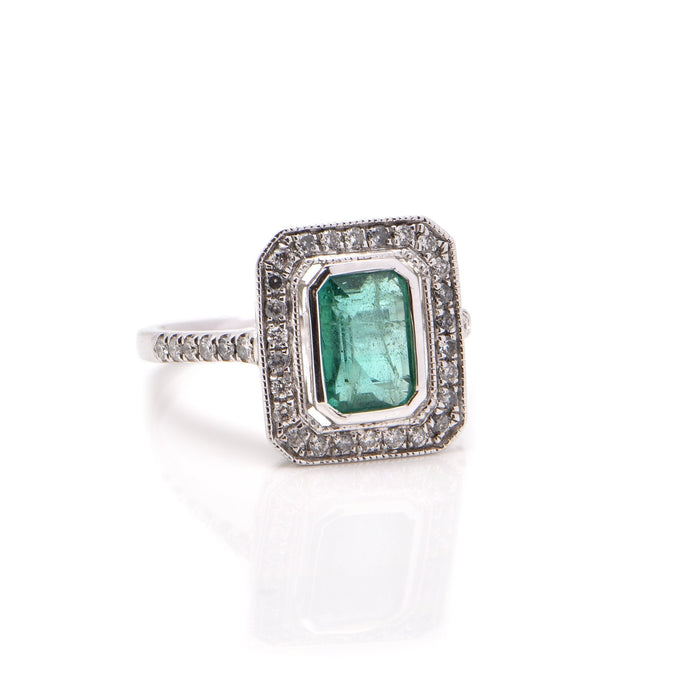 Emerald and Diamond Halo Dress Ring