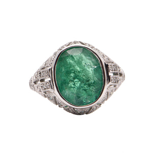 Platinum Oval Emerald and Diamond Dress Ring