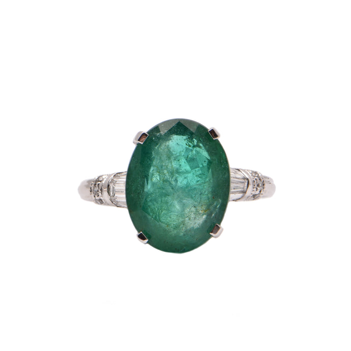 Platinum Oval Emerald and Diamond Claw Set Dress Ring