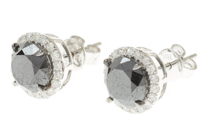 BLACK AND WHITE DIAMOND CLUSTER STUD EARRINGS 18CT WHITE GOLD