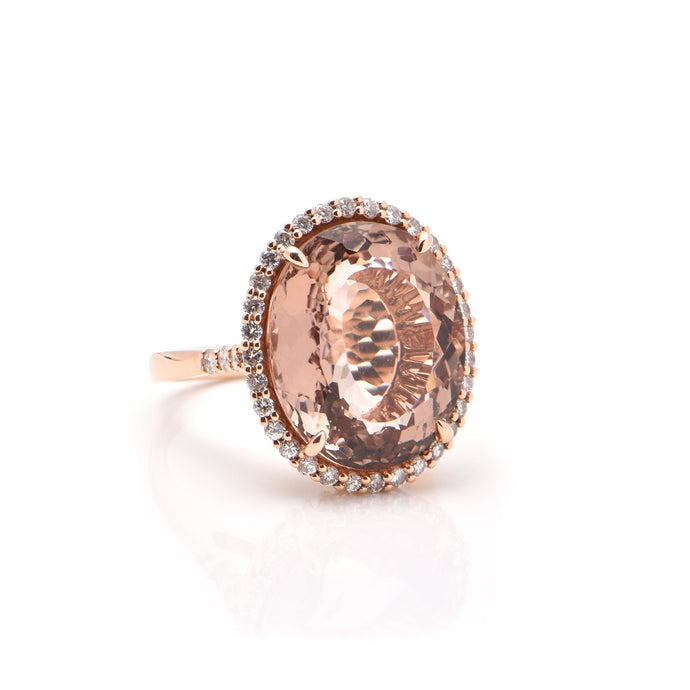 Oval Morganite and Diamond Halo Dress Ring