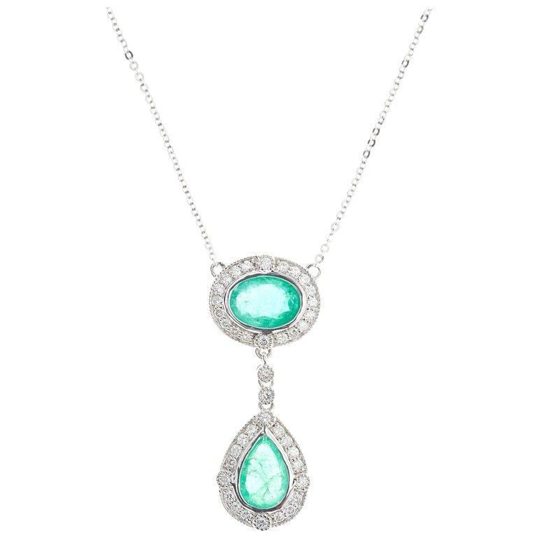 Emerald Round Brilliant Diamond Drop Platinum Pendant Necklace