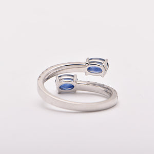 Oval Sapphire and Diamond Split Dress Ring