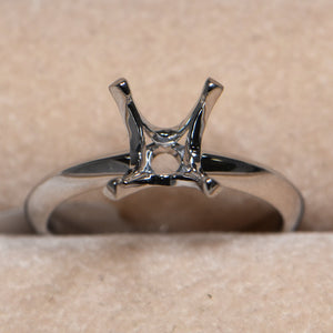 Engagement Ring 4 Claw Diamond Ring Setting 2 Carat 18 Carat White Gold by Cartmer