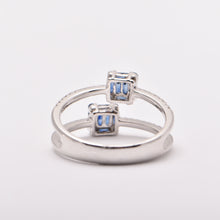 Baguette Sapphire and Diamond Double Band Dress Ring