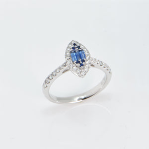 Sapphire and Diamond Ring 18 Carat White Gold