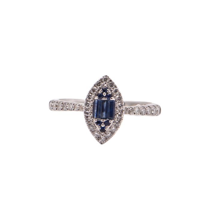 Marquise Shape Baguette Sapphire and Diamond Halo Dress Ring